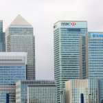 corporate buildings of banks clustered together