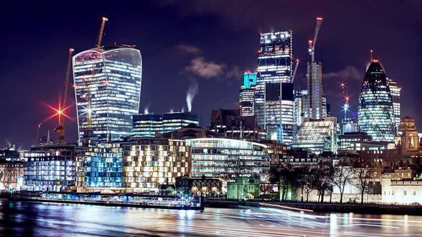 View of the London skyline at night