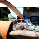A BMW Vision iNEXT is displayed at the Mobile World Congress (MWC)