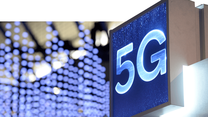 A 5G hotspot sign is displayed at the Mobile World Congress (MWC) in Barcelona