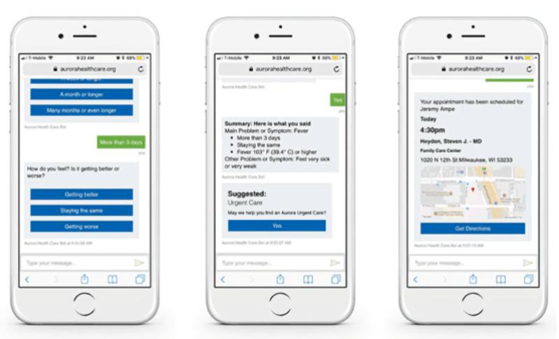 Screenshots of a Microsoft Health Bot application.