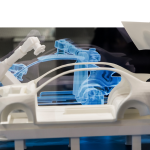 Simulating of car manufacturing by robots, digital twin of the production on Siemens stand on Messe fair