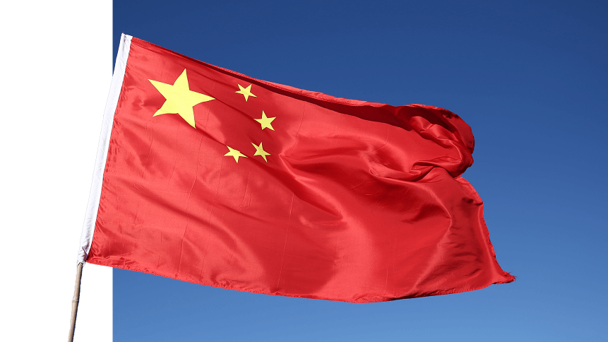 China flag in the wind.