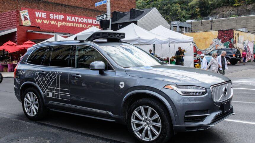 A Uber autonomous driving car