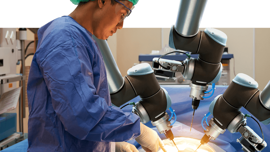 Smart precision healthcare technology , artificial intelligence concept. Automation robot hand machine in operating room and surgery doctors in futuristic hospital