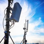 Silhouette of 5G smart cellular network antenna base station
