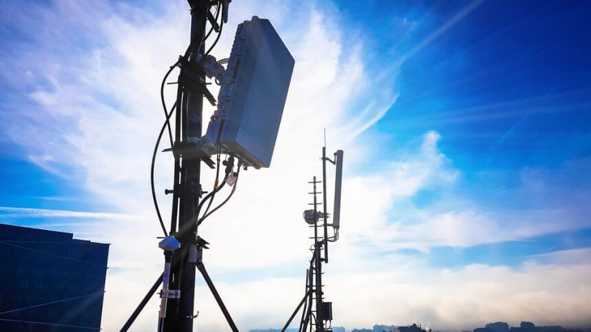 Silhouette of 5G smart cellular network antenna base station