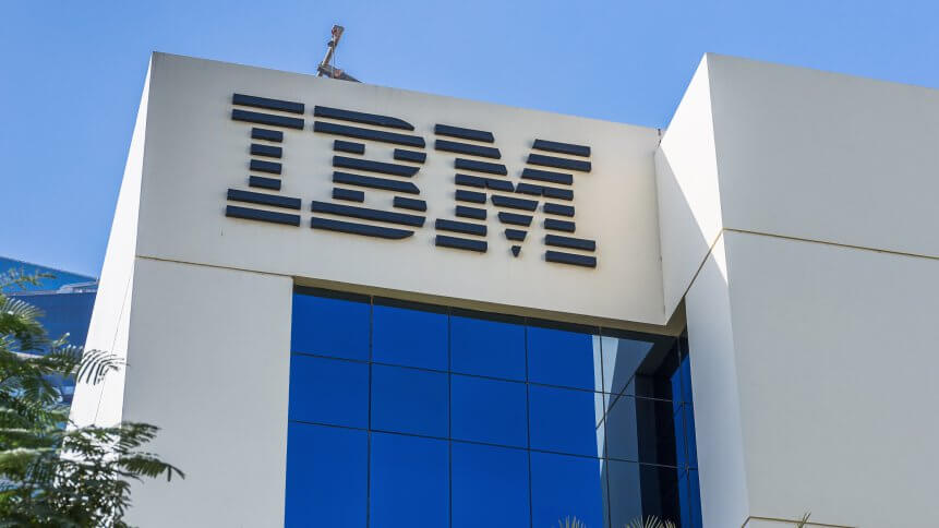 Sign of IBM on the office building . IBM is an American multinational technology and cumulating corporation headquartered in New York.