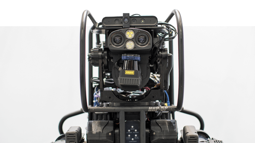 A life-size humanoid-shaped HRP-5P robot is displayed at the World Robot Summit in Tokyo on October 18, 2018