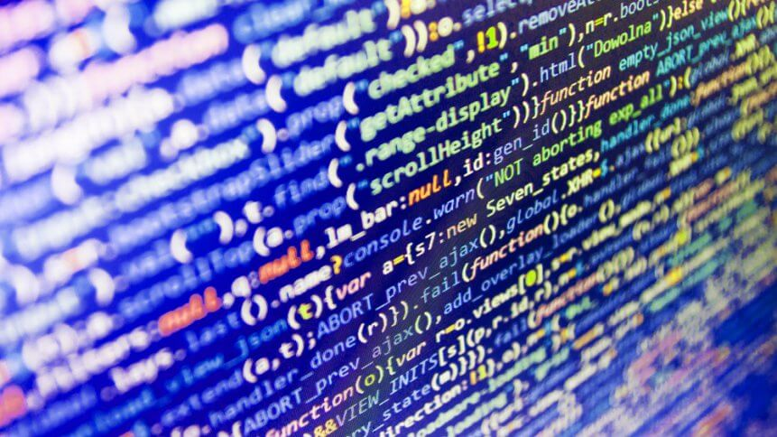 Admin access to data source. Software development. WWW software development. Javascript code in bracket software. Web site codes on computer monitor. Software source code.
