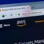 Homepage of Amazon Web Services - AWS website on the display of PC