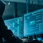Shot from the Back to Hooded Hacker Breaking into Corporate Data Servers from His Underground Hideout