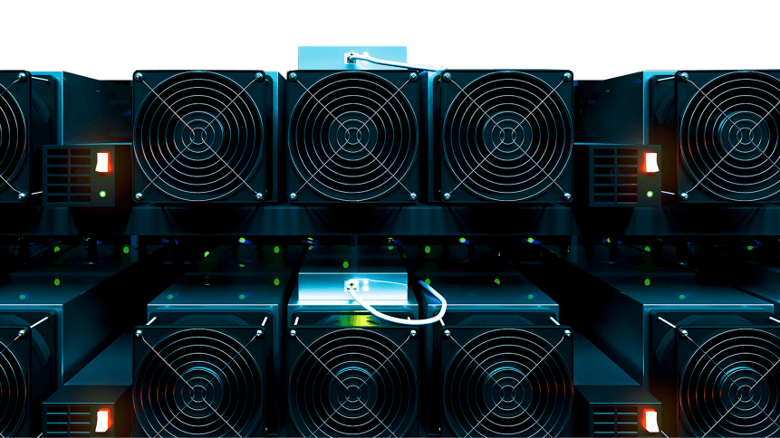 design element. 3D illustration. rendering. dark bitcoin cryptocurrency mining farm 3d background color imag