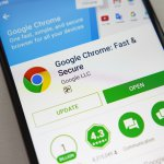 Google Chrome application on screen modern smartphone in Play Store