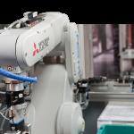 A Mitsubishi robotic arm.