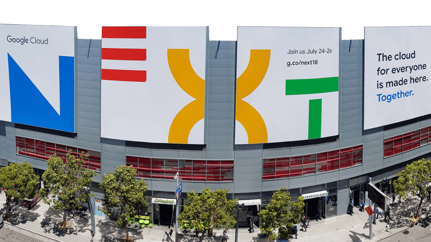 Google Cloud Next 18 session billboard in San Francisco