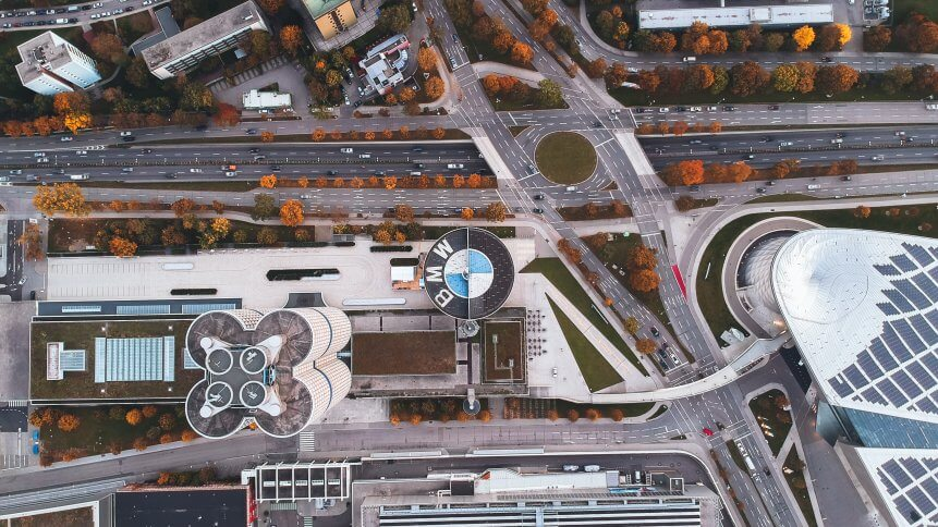 View on BMW factory in Munich from the sky