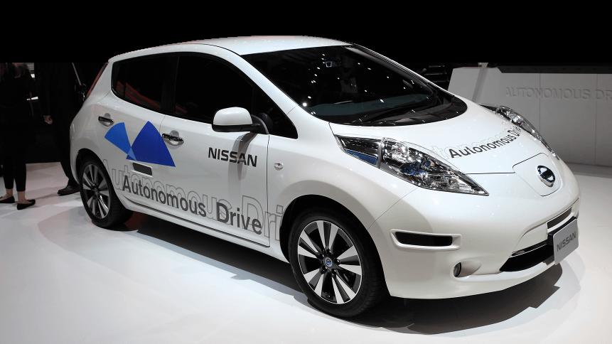 A Nissan autonomous Drive car on display at 84th international Geneva motor show