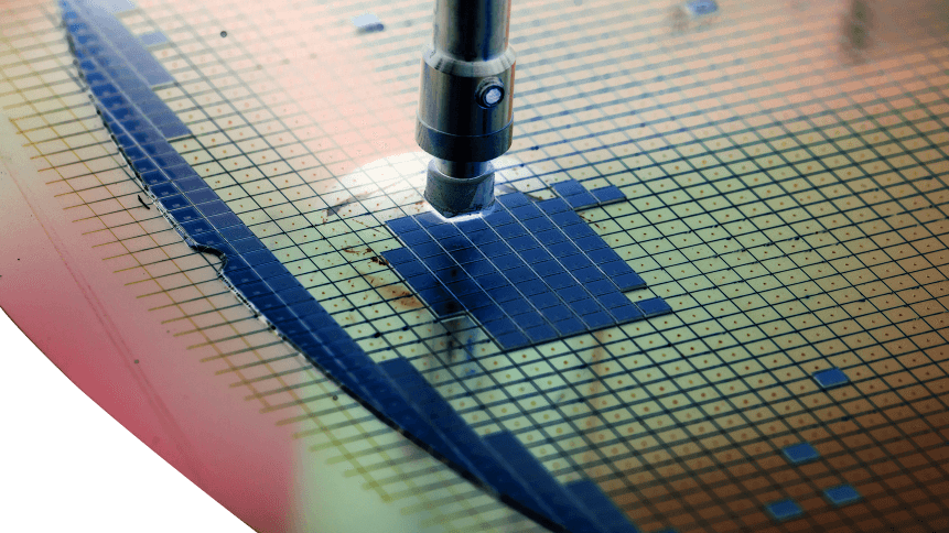 silicon wafer in die attach machine in semiconductor manufacturing