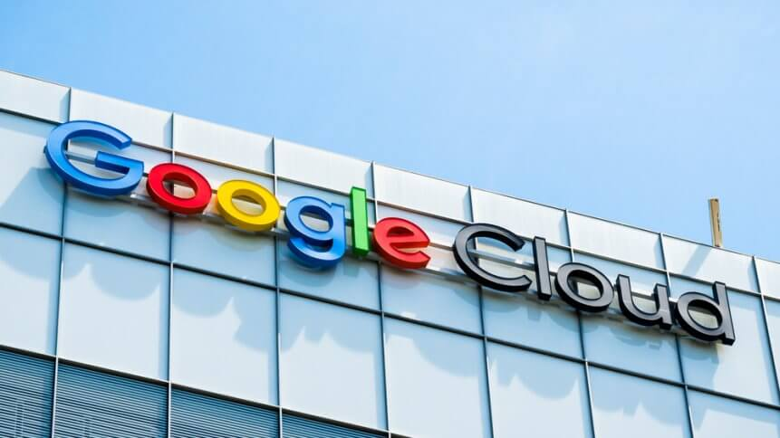 Google Cloud sign on top of one of their office buildings located in Silicon Valley