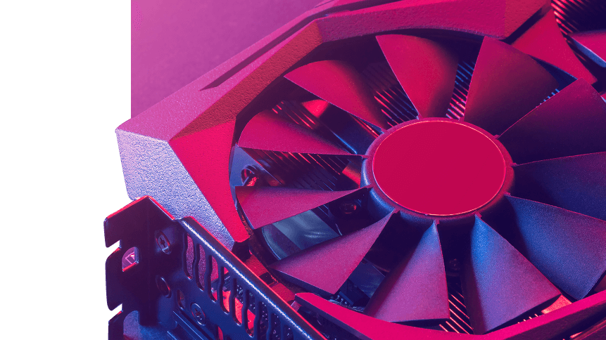 Video graphics card. Abstract bright pink blue light. Gpu background