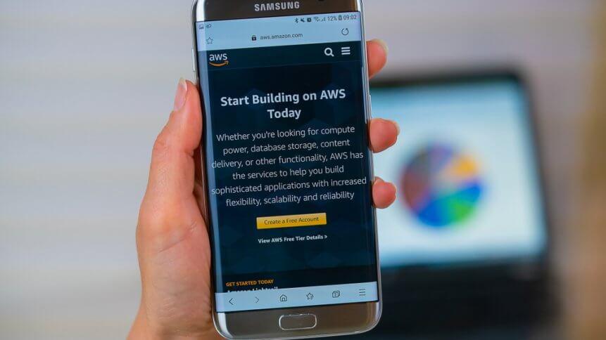 Aws Amazon web site on mobile phone screen