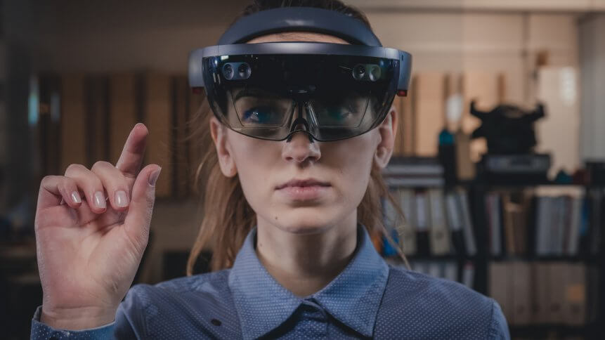 A Microsoft Hololens headset used for Mixed Reality applications.