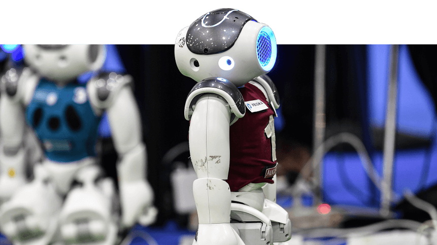 Robots are pictured during a tournament of robot footballers at the 7th edition of the Maker Faire 2019
