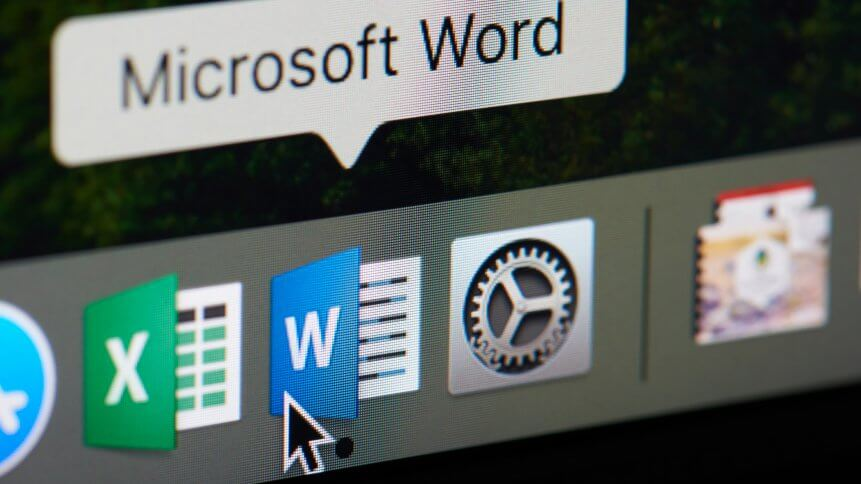 Microsoft office word icon close-up on computer screen