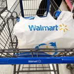 Branded Walmart shopping cart and bag in Walmart