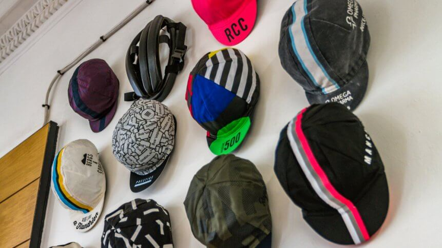 Rapha Cycling Hats for sale in a store in London.