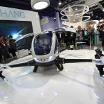 An EHang 184 autonomous-flight drone that can fly a person at CES 2016.