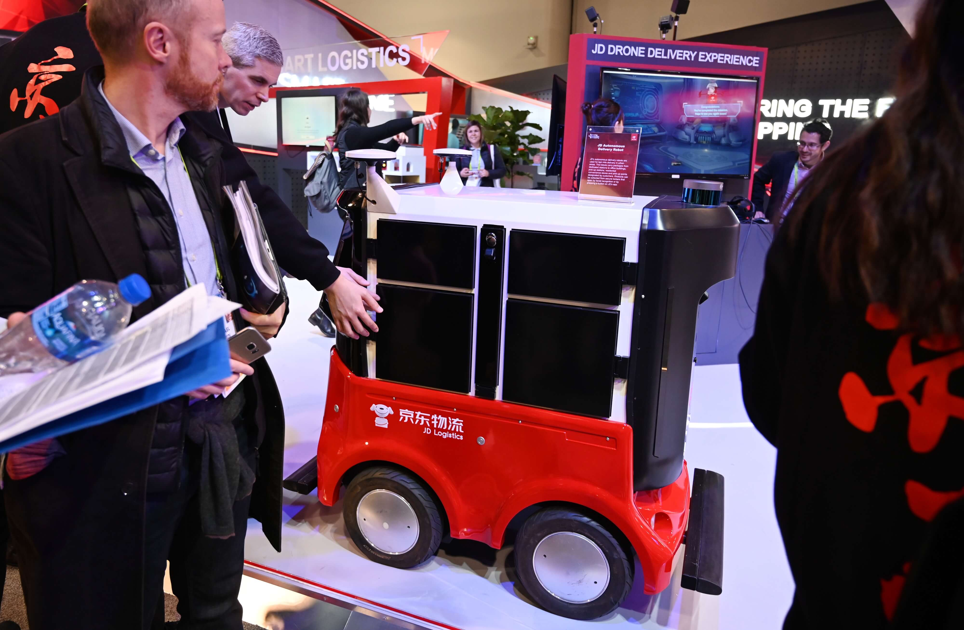 Chinese online retail and logistics company JD displays its Autonomous Delivery Robot at CES 2019