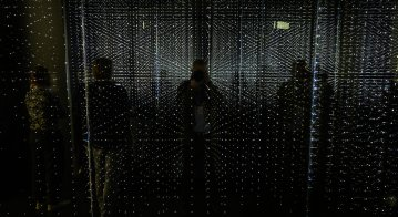 "Visitors check out an infinity chamber seeking to reproduce the atmosphere of a large data centre at the ""Futurium"", House of Futures in Berlin"